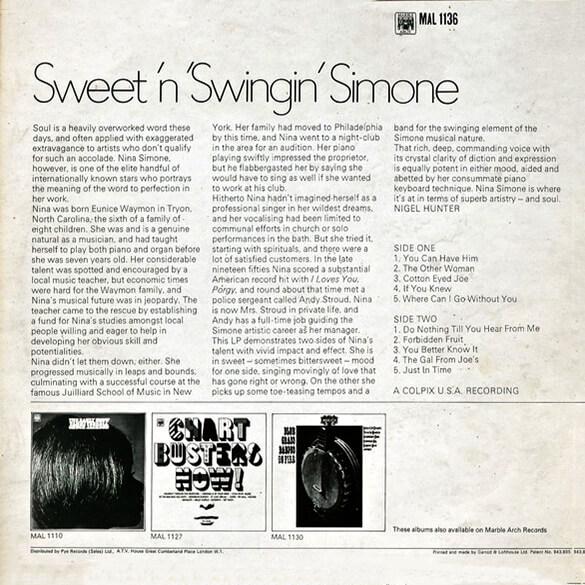 Nina Simone: Sweet 'N Swingin' Simone